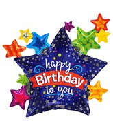 """36"""" Happy Birthday Many Stars Balloon"""