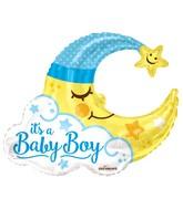 "36"" Baby Boy Moon Shape Gellibean Balloon"