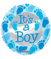 """4"""" Airfill Only Baby Blue Foot Prints Balloon"""