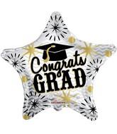 """36"""" Congrats Grad Gold & Silver Balloon"""
