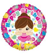 """9"""" Airfill Only Round Birthday Ballerina Gellibean Balloon"""