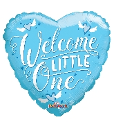 """9"""" Airfill Only Heart Welcome Little One Blue Balloon"""