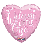 """9"""" Airfill Only Heart Welcome Little One Pink Balloon"""