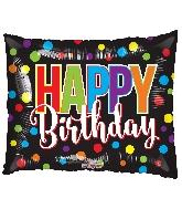 """36"""" Rectangle Horizontal Birthday Dots Shape Balloon"""