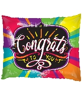 """36"""" Rectangle Horizontal Congrats To You Gellibean Balloon"""
