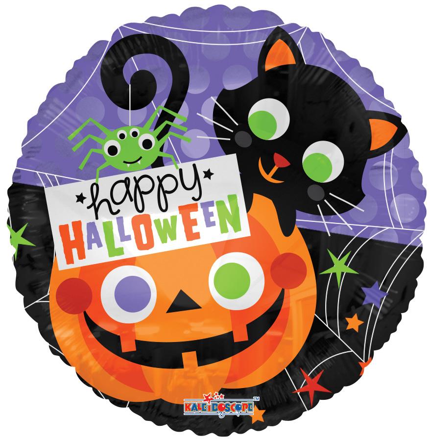 """18"""" Halloween Cat & Pumpkin Balloon"""