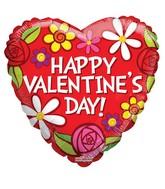 "18"" Happy Valentine's Day Flowers Balloon"