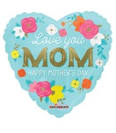 "18"" Love You Mom Flowers Balloon"