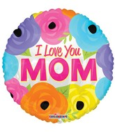 """36"""" I Love You Mom Bright Flowers Balloon"""