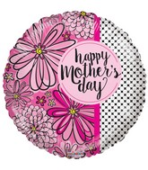 """18"""" Happy Mother's Day Flowers & Dots Balloon"""