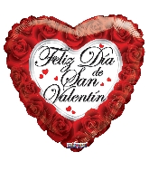 "9"" Airfill Only Feliz Dia De San Valentin Roses Balloon"