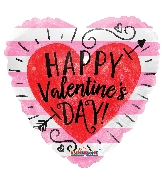 """18"""" Happy Valentine's Day Red Heart With Arrow Balloon"""