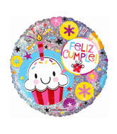"18"" Feliz Cumple Holographic Mylar Balloon"
