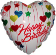 """36"""" Happy Birthday Hearts and Stars"""