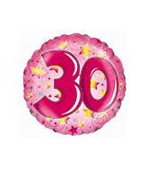 "18"" Pink Stars and Swirls Number 30"