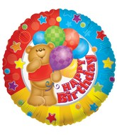 "9"" Airfill Happy Birthday Bear Balloon"