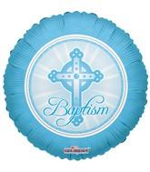 "18"" Baptism Balloon Cross Pastel Blue"