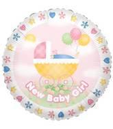 "9"" Airfill Only Baby Girl Stroller Balloon"