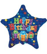 "18"" Happy Birthday Presents Royal Blue Star"