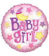 "24"" Baby Girl Moon Clear View Balloon"