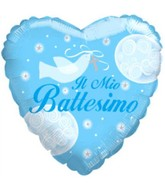 "18"" Il Mio Battesimo Boy Dove Heart Mylar Balloon"