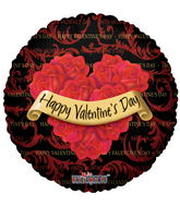 "18"" Happy Valentine's Day Balloon Roses Wreath Black"