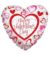 """18"""" Happy Valentine's Day Patterned"""