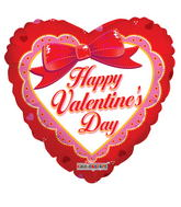 """18"""" Happy Valentine's Day Balloon Heart With Bow"""