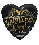 """18"""" Happy Valentine's Day Gold With Arrow Foil Balloon"""