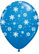 "11"" Qualatex Snowflakes Royal Blue (50 Count)"