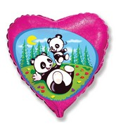 "18"" Funny Pandas Mylar Balloon"