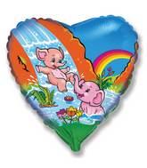 "18"" Funny Elephants Mylar Balloon"