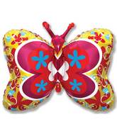 """35"""" Yellow Deco Butterfly"""