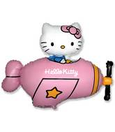 "30"" Jumbo Hello Kitty Plane Balloon Pink"