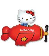 "30"" Jumbo Hello Kitty Plane Balloon Red"