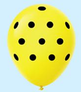 """11"""" Polka Dots Latex Balloons 25 Count Yellow BLACK DOTS"""