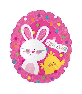 """20"""" Happy Easter Bunny & Chick Foil Balloon"""