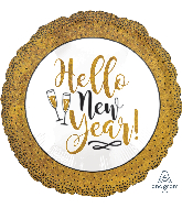 "18"" Gold Glitter New Year Foil Balloon"