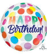 "16"" Orbz Happy Birthday Big Dots Foil Balloon"