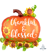 """29"""" Jumbo Thankful & Blessed Pumpkin Foil Balloon"""