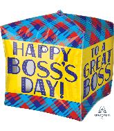 "15"" Cubez Boss's Day Plaid Foil Balloon"