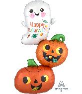 "37"" Jumbo Happy Ghost & Pumpkin Stack Foil Balloon"