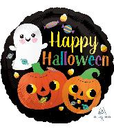 "18"" Happy Ghost & Pumpkins Foil Balloon"