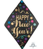 """25"""" Anglez Happy New Years Satin Dots Foil Balloon"""