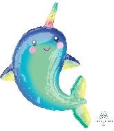 """39"""" Happy Narwhal Whale Foil Balloon"""