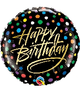 "18"" Birthday Gold Script Dots Foil Balloon"