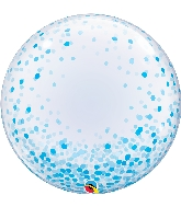 "24"" Deco Blue Confetti Bubble Balloon"