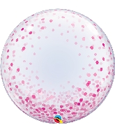 "24"" Deco Pink Confetti Bubble Balloon"