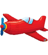 """36"""" Red Vintage Airplane Foil Balloon"""