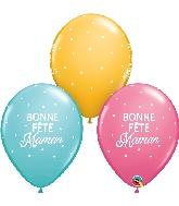 """11"""" Bonne Fête Maman Petits Pois Latex Balloons 50 Count"""